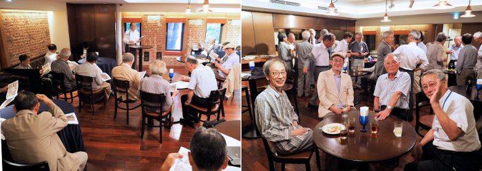 左:伊藤国際学術研究センターで香山先生から本郷キャンパスの歴史の講義を聴く 右:老老男男ながら元気な歓談風景