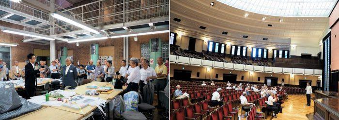 左:改修(増床)された1号館製図室で千葉先生の説明を聴く 右:改修された安田講堂で千葉先生の説明を聴く